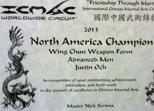 international chinese martial art competition north american champion wing chun kung fu advanced weapon forms butterfly swords long pole icmac