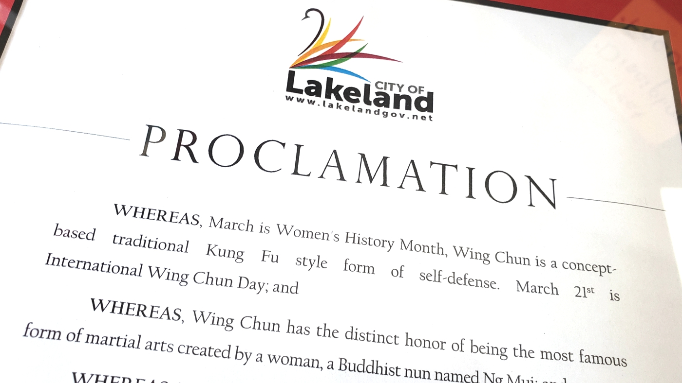 Wing Chun Proclamation, Woman month, womens month, women's month, proclamation woman, woman proclamation, city of lakeland, martial arts, kung fu studio, kung fu academy, kung fu school, woman proclamation, womans month, womens month, women month, woman month